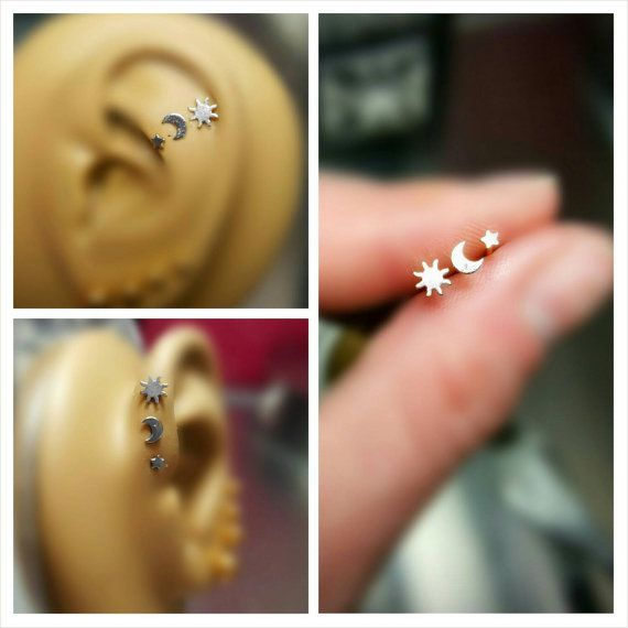 Silver Sun Moon and Star Tragus Cartilage Earring par ABodyJewelry