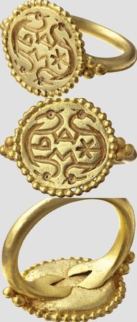 Alemannic gold ring with religious symbols, 2nd half of 7th century .