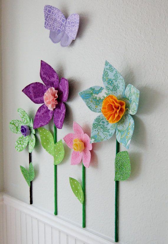flower wall decal girls room decor wall by leilasflowergarden, $10.00