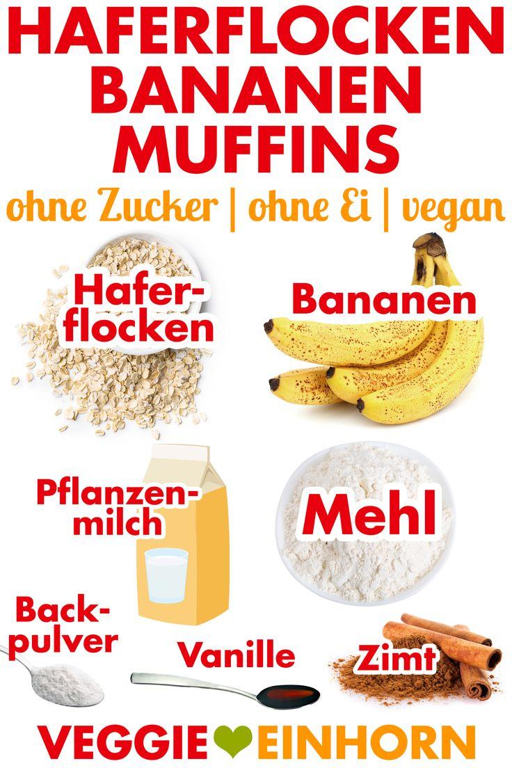 Vegane FRÜHSTÜCK MUFFINS mit Haferflocken und Bananen | Gesunde Muffins ohne …   – EINFACHE VEGANE REZEPTE