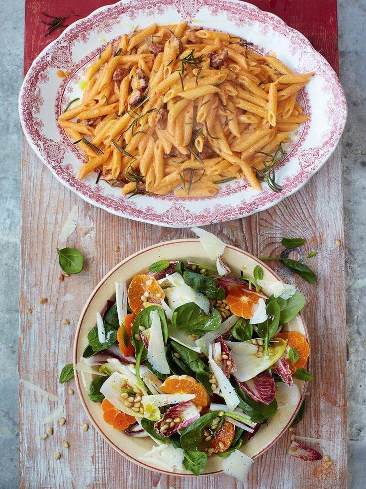 Chorizo carbonara with catalan market salad (Jamie Oliver's 15 minute meals)