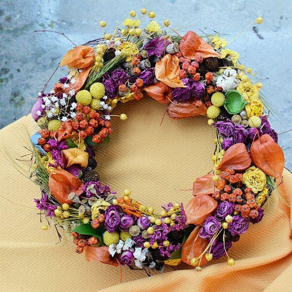 Vintage wreath, Autumn decorations, table decor, Dried pink roses, Rustic wreath, Home decor, Orange autumn decor, birch Autumn wreath