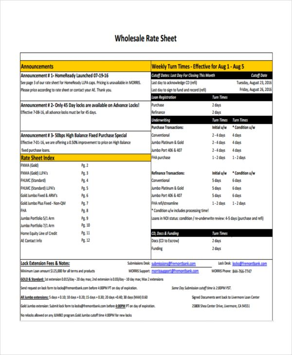 Sample Rate Sheet Template | 16 Rate Sheet Templates Free Printable Word Excel Pdf