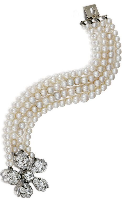 PEARL, CULTURED PEARL AND DIAMOND BRACELET Composed of four graduated strands of pearls and cultured pearls, the clasp designed as a flower head set with cushion-shaped diamonds and rose-cut diamond accents, late 19th century, a few rose-cut diamonds deficient. length approximately 190mm,
