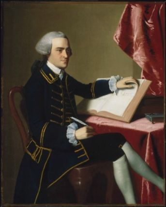 """""""John Hancock"""" by John Singleton Copley (1765) at the Museum of Fine Arts, Boston - From the curators' comments: """"In this austere image, Hancock wears a dark blue frock coat trimmed in gold braid to accentuate the line of buttons and the edges of the plain wool material....The costume and setting are unexpected for a man who enjoyed the luxurious prerogatives of extreme wealth."""""""