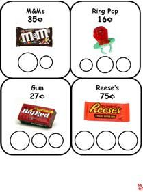 "Candy Money Cards  - Money -  Counting. Coins - Print, cut and laminate these cards. Using real money, have the kids pick a candy card to cover the circles with the correct amount to ""buy"" the candy with their money."