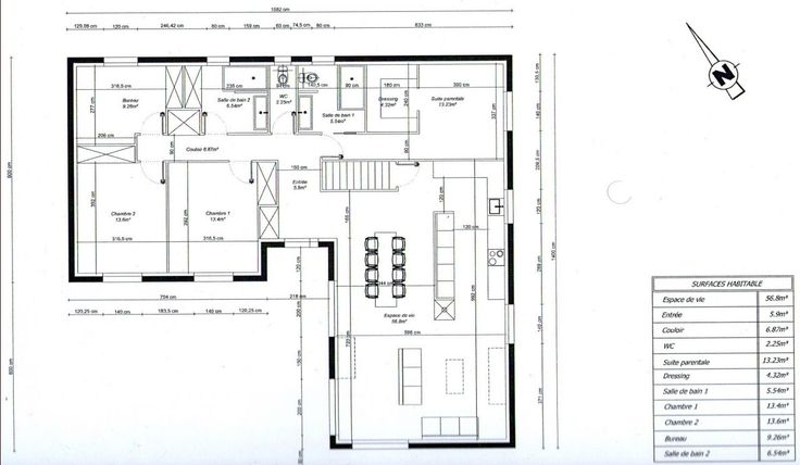 Photo plan de maison en l 3 chambres 1 bureau maison for Plan maison plain pied 3 chambres 1 bureau