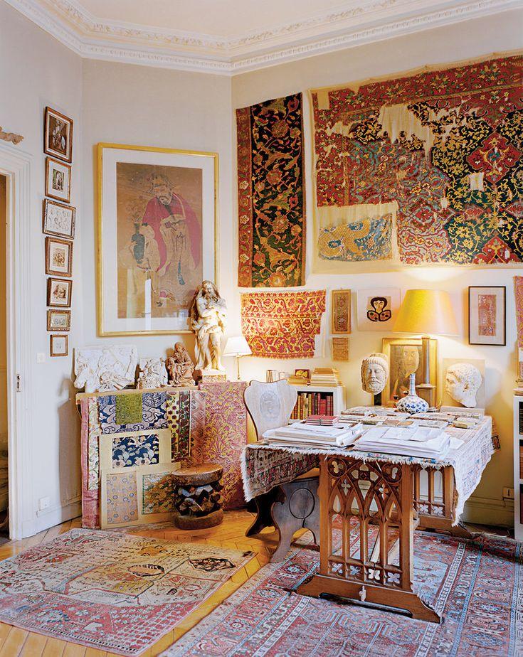 Study at illustrator Pierre Le-Tan's Paris apartment. Like Father, Like Daughter - #houses #advice #design #interior design #trends #2013 #canadianmortgagesinc [www.lombardsfinefurniture.com]