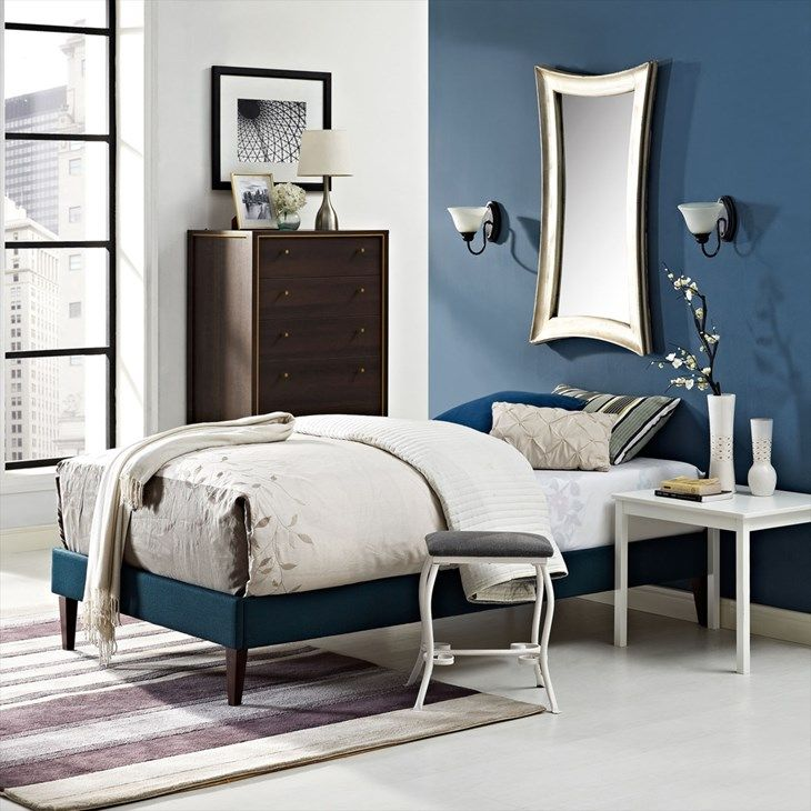 Modway Furniture 5348 Navy Blue Twin Fabric Platform Bed Frame