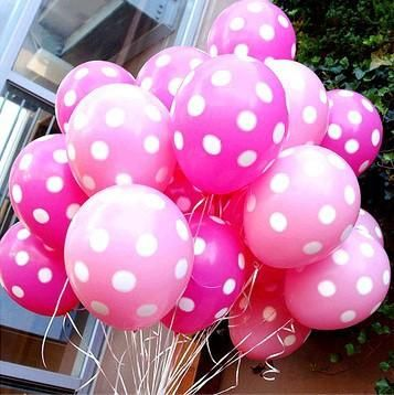 Pink and fuchsia / bright pink polka dot party balloons