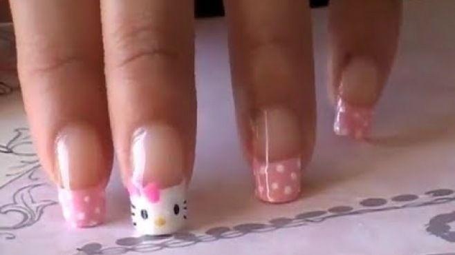 Hello Kitty Desenli Fransız Manikürü Yapımı - Hızlı ve kolay bir şekilde evde uygulayabileceğiniz Hello Kitty desenli fransız manikürü tekniği (Hello Kitty French Nail Art Video)