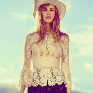mix it up - jeans and cowboy hat with lovely lace top