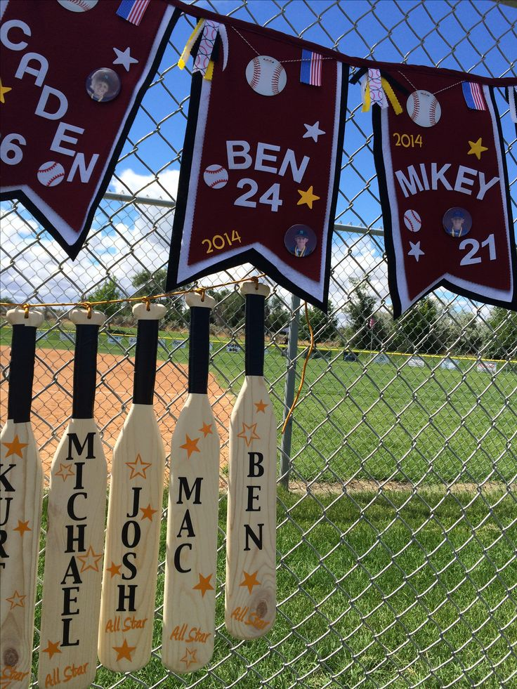 Baseball bat pennants for Little League All Stars 2014