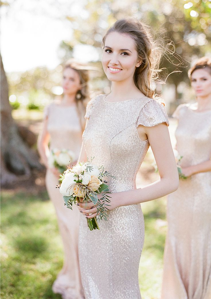 Glamorous bridesmaid ideas: Cap sleeved, floor length glamorous bridesmaid idea. #wedinspire