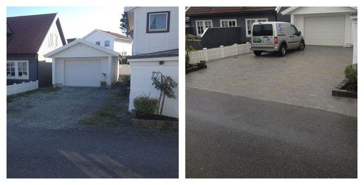Før og etter legging av #belegningsstein i #innkjørsel.