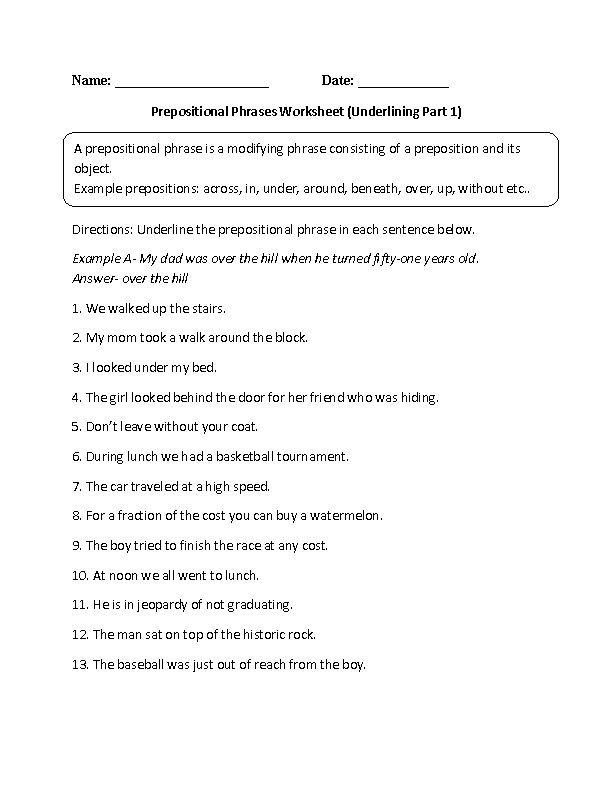 Underlining Prepositional Phrase Worksheet