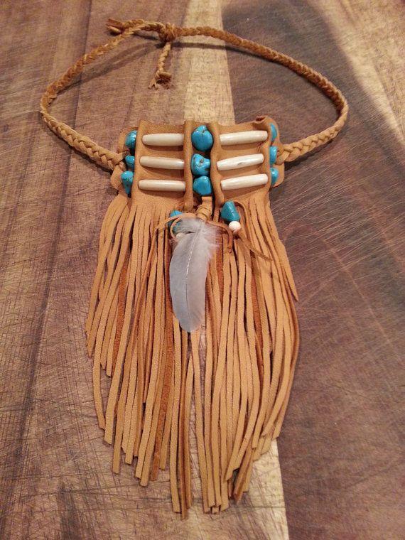 Native American bone beaded fringed choker