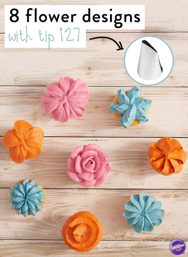 How to create eight flower cupcake designs with tip 127:  Using decorating tip 127, mix and match these common icing techniques to put together a garden of edible flowers that are great for any spring celebration.