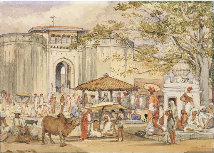 """Another unusual painting of the Shaniwar Wada #Pune - Gateway to the Shanwar Palace by William Carpenter 