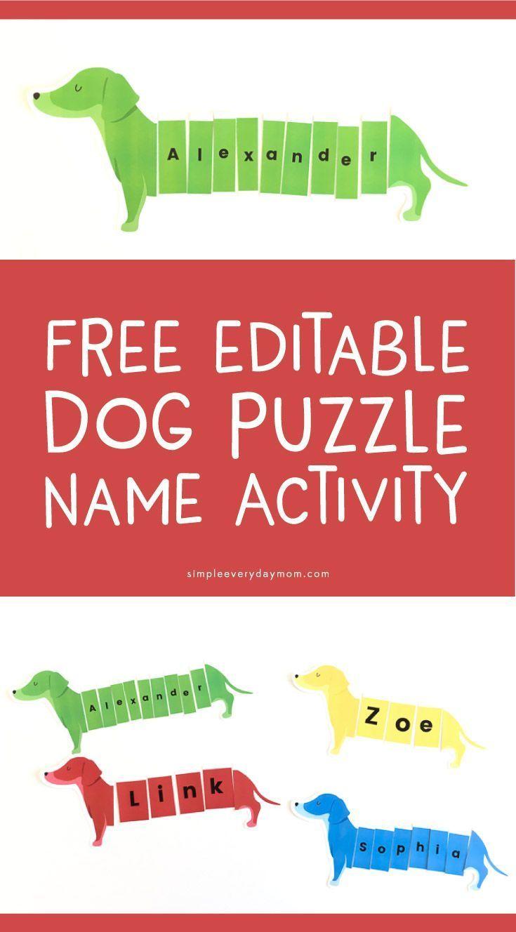 Dog Puzzle Name Activity – Preschool fine motor