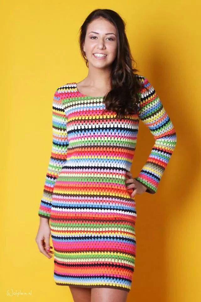 lindo vestido multicolor en crochet