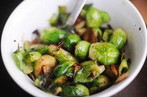 Browned Garlic Brussels Sprouts with lemon and paprika...sooo tastey