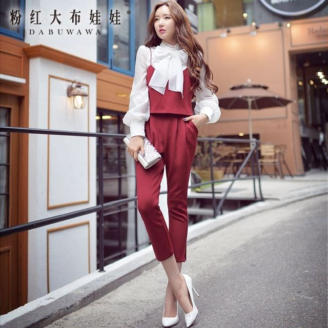 Original New 2015 Brand Slim Fashion Female Women Set Top + Pant Wholesale US $63.36 /piece    CLICK LINK TO BUY THE PRODUCT  http://goo.gl/oYWEYs