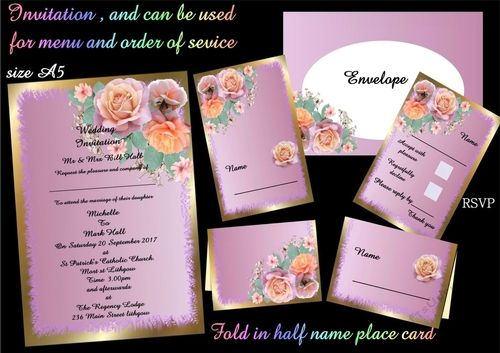 This is a beautiful full set of wedding stationary which consists of the invitation that you print your own details, this A5 sheet can also use as a order of service and a menu for the table. there is the rsvp to send with the invitation, and the name place card, and last the matching envelope. every thing in matching lilac colour.