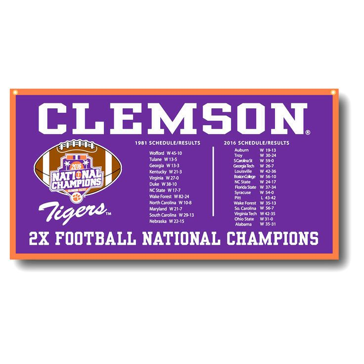 Clemson Tigers College Football Playoff 2016 National Champions 18'' x 36'' Banner - Purple - $37.99