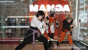 Grande Bibliothèque -The Manga Ball: Starting at midnight, the hall will fill with cosplayers (individuals who dress up as characters in mangas, comics, movies or video games), dressed up to share their passion for the art. Experience a most unusual parade under the spotlights, as the strains of Asian music carry you along until the wee hours of the morning! ++ Grande Bibliothèque - Le bal manga: À compter de minuit, le hall est investi par des cosplayers (des personnes qui s'habillent comme…
