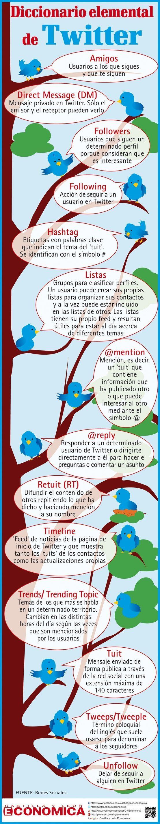 #Twitter - Diccionario Básico para Principiantes   #Infografía #educación