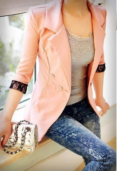 love!: Light Pink Blazers, Black Lace, Lace Cuffs, Color, Pale Pink, Outfit, Jackets, Acid Wash Jeans, Pink Blazers