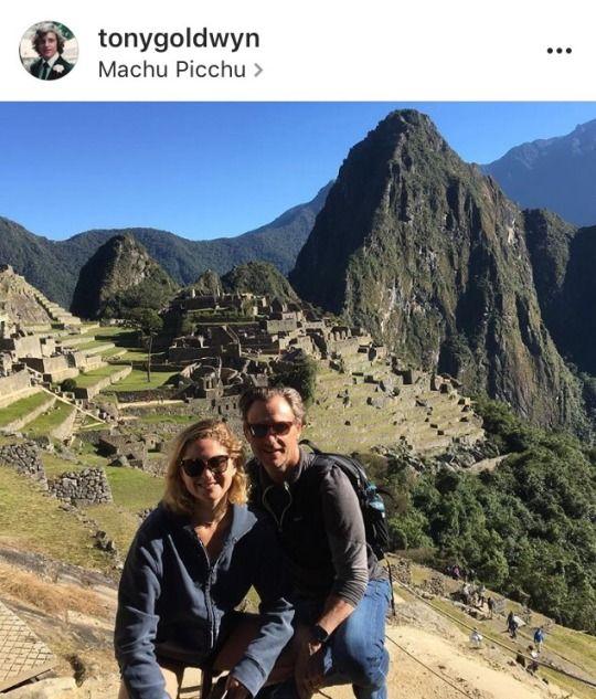 Tony Goldwyn and Tess Musky Goldwyn in Macchu Picchu in Peru
