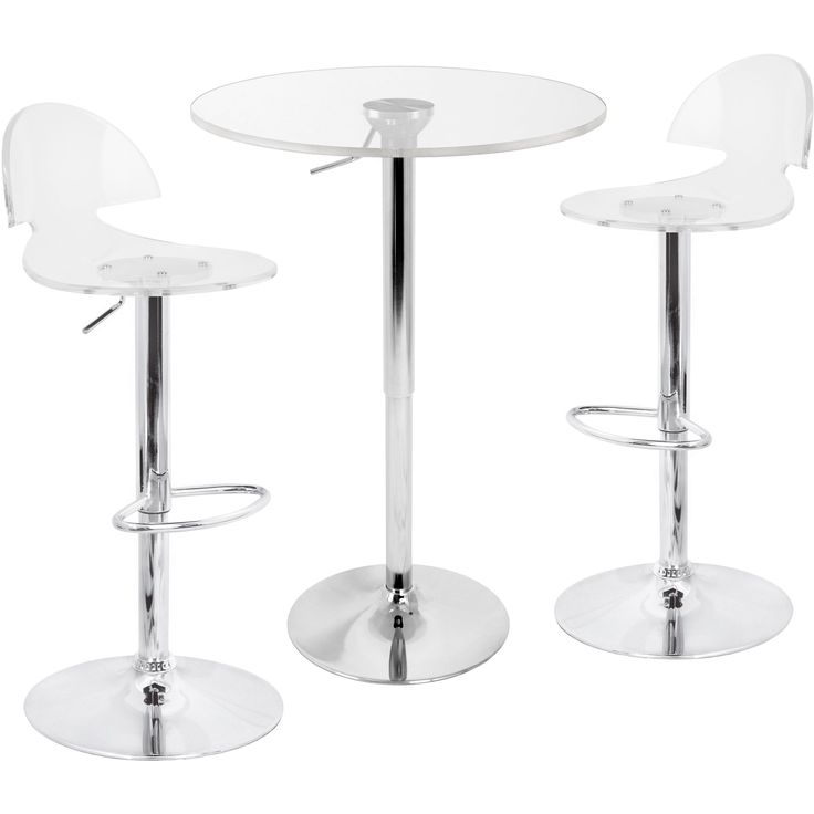 This is a modern and distinctive Bar Pub Table and Chairs Set that will attract plenty of attention. Finished in all-acrylic seats and polished chrome, it adjusts from bar height to normal sitting height for versatile home use.