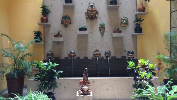 Decorative courtyard at Casa Alebrijes, a gay hotel in Guadalajara.