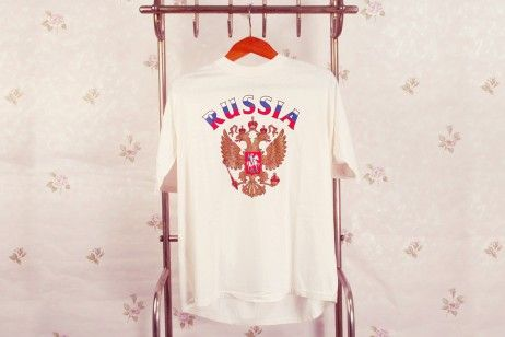 MEN'S GRAPHIC T-SHIRT RUSSIAN DOUBLE-HEADED EAGLE. A comfortable crew neck T-shirt, which goes great with weekend jeans and sweatshirt jacket.Screen-print design. The print on the T-shirt represents the image of Russian State Emblem – the golden double-headed eagle with outstretched wings. #Shirt #Tshirtdesigns #Tshirt #Shirts #Tees #T-Shirts #Clothing #Tee #Apparel #Style #Tshirtsonline #Fashion #Sleeve #Cotton #Design #Graphictees #CustomTShirts #horseman #moscow #russian #eagle #eagles