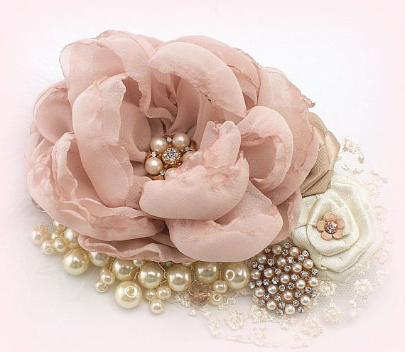 ****Made Upon Request- This fascinator can be make in ANY color scheme This vintage-inspired fascinator clip is romantic and feminine. Beautifully crafted flowers in chiffon and satin decorated with pearls, my signature cluster of pearls and crystals, silky feathers and sparkly crystal