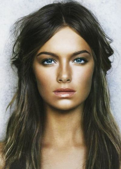 This look is a great model for highlighted face.To achieve this look the makeup artist probably used the models natural skin color as highlighter, and used bronzer and darker shade of foundation avoiding the high-points.  The bronze is creating a cast shadow, which we say highlighting the face. Look how strong the chin is highlighted. go for it test it on your cam ;)