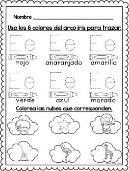 fichas para el alfabeto, el abecedario, trazando el abecedario con los 6 colores del arco iris.  Una pagina para cada letra del abecedario y una para los digrafos: ch, ll, y doble rr para un total de 29 paginas.   sonidos iniciales