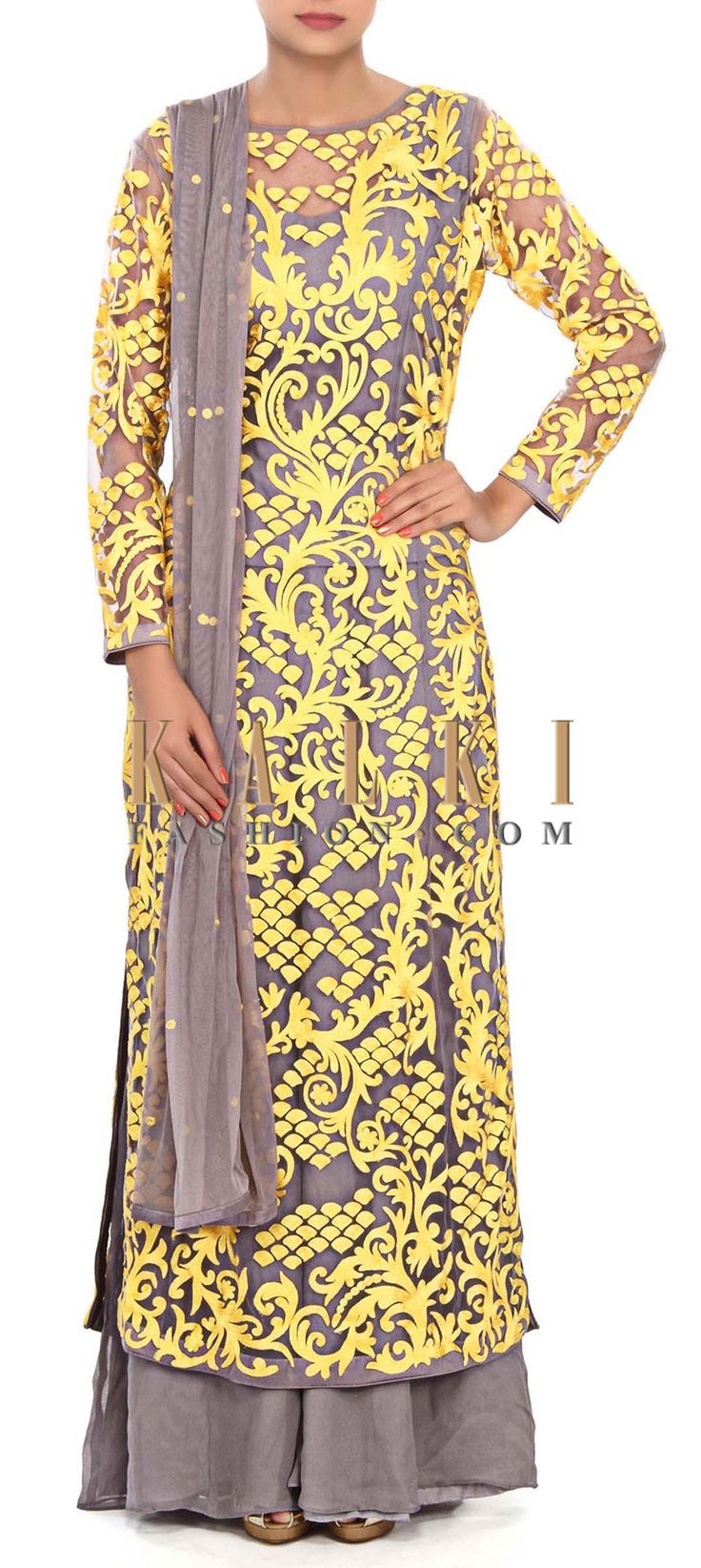 Buy Online from the link below. We ship worldwide (Free Shipping over US$100) Price- $309 Click Anywhere to Tag http://www.kalkifashion.com/grey-straight-suit-enhanced-in-thread-embroidery-only-on-kalki.html