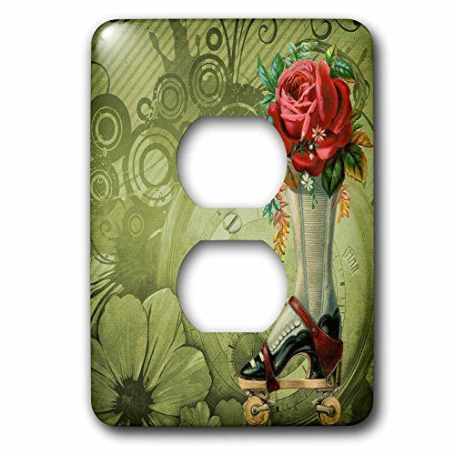 3dRose LLC lsp_102680_6 Vintage Victorian Steampunk Roller Skate Boot with Red Rose Clock Background 2 Plug Outlet Cover #dRose #lsp__ #Vintage #Victorian #Steampunk #Roller #Skate #Boot #with #Rose #Clock #Background #Plug #Outlet #Cover