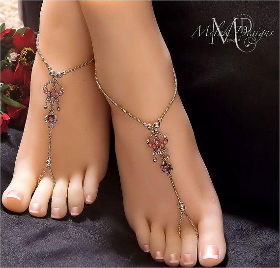 Pink Silver Swarovski Focal Barefoot Sandals by MelekDesigns, $29.00.