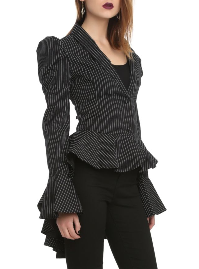 Black tailcoat style jacket with a white pinstripe pattern, puffed shoulders, bell sleeves with flared cuffs and a bow accent on the back.