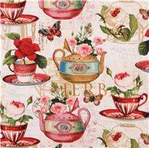 creme Teetassen Rosen Blumen Stoff Tea & Music Lula Bijoux