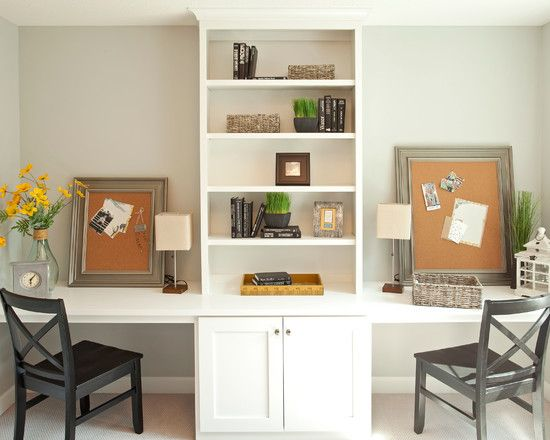 Home Office, Wonderful Home Office Ideas For Two With White Built In Shelves For Books And Rattan Basket On It Also Yellow Flower In Vase, B...