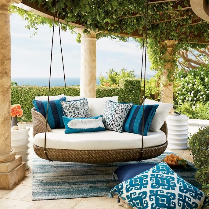 Malia Hanging Daybed From Frontgate Interiordesign Interiorstyling Outdoorliving Patioinspo There Exists Lit In 2020 Hanging Daybed Porch Swing Balcony Decor