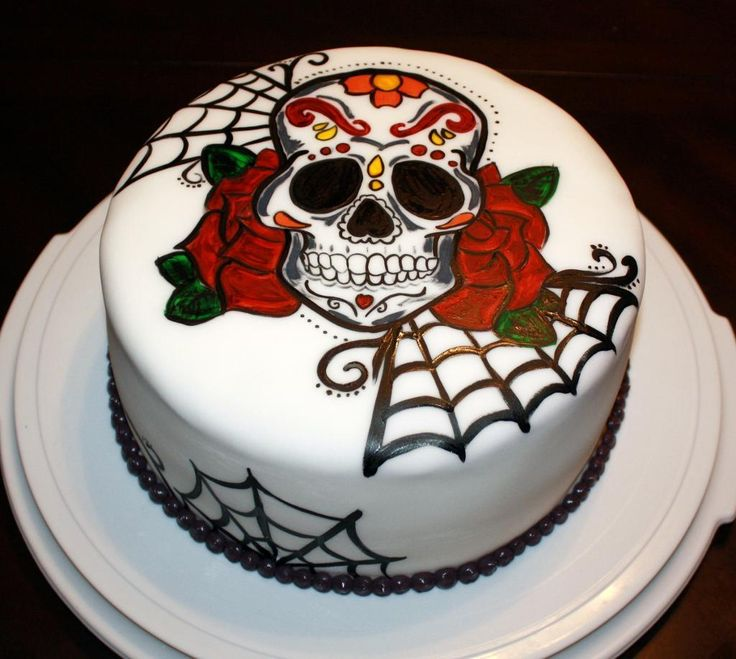 you have to see hand painted sugar skull on craftsy looking for cake decorating - Simple Halloween Cake Decorating Ideas