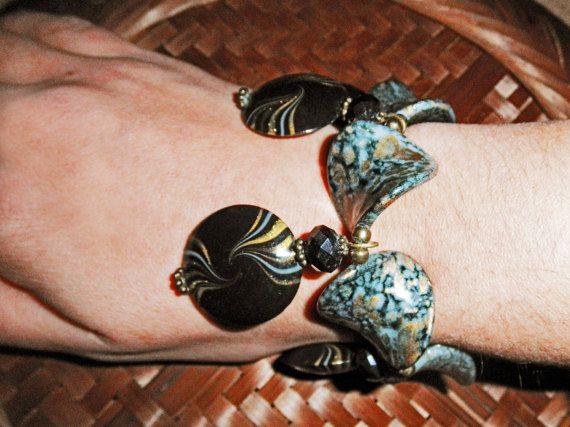 Bracciale neri / bronzo / oro / perle bracciali di HanDesign1987