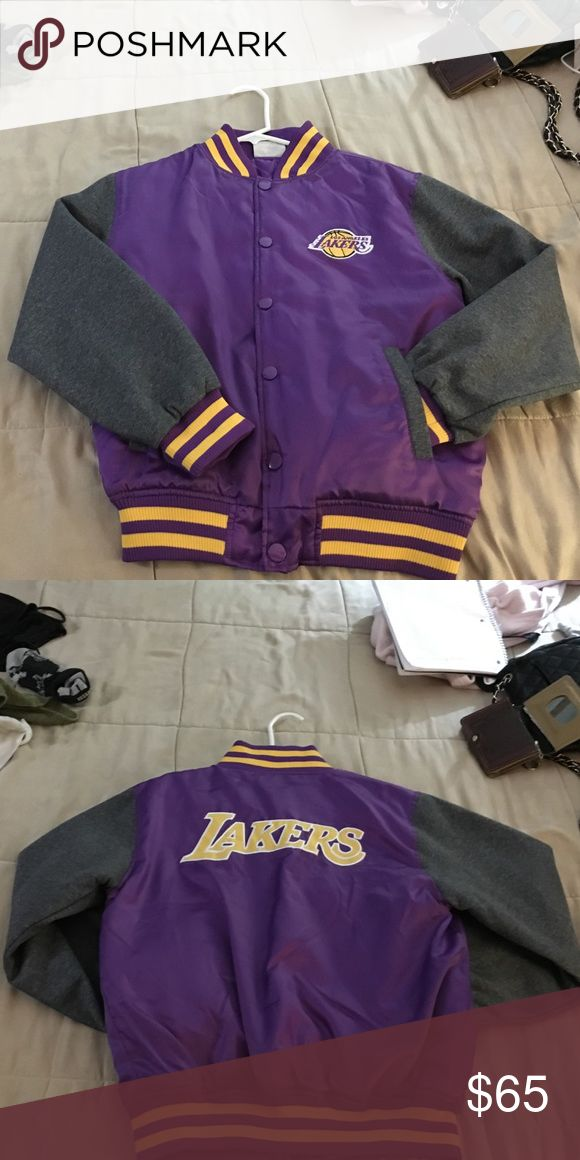 Lakers Jacket Size Large LAKERS jacket very comfortable purple and grey color. Only worn once! hardwood classics Jackets & Coats