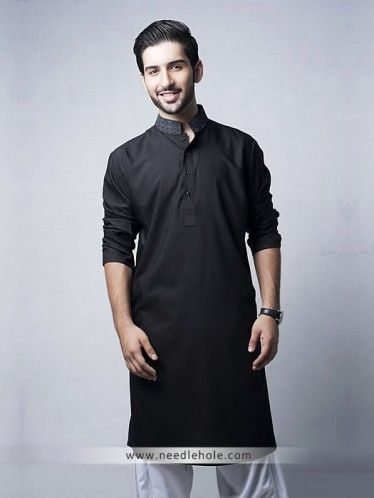 #Cotton silk #kurta #shalwar for men in black color with embroidered collar http://www.needlehole.com/cotton-silk-kurta-shalwar-for-men-in-black-color.html Designer #kurta #shalwar and #shalwar #kameez collection uk. Latest pakistani salwar kameez designs and men's kurta suits collection by needlehole online shop usa, uk, canada